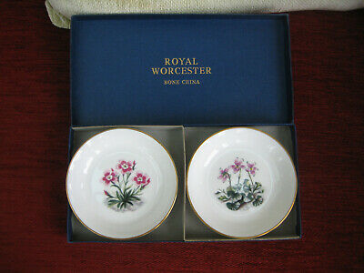 Royal Worcester Boxed Set Pair 'alpine Flowers' Pin Dishes • 6.95£