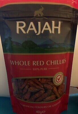 Rajah Whole Red Chillies 100% Pure,No Artificial Colours Or Additives 40g- UK • 4.50£
