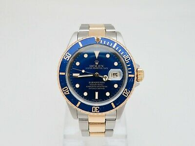 $ CDN12272.81 • Buy 1999 Rolex Submariner Blue Dial 16613 18K/Steel Gold Through Clasp 40 Mm