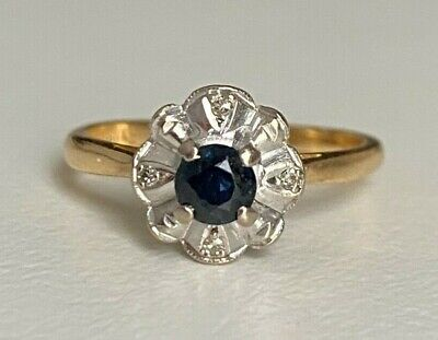 AU428 • Buy 18CT Solid Gold W/ Sapphire & Diamond Cluster Ring 3.45g Size L 1/2 -  5 7/8