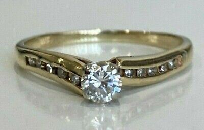 AU398 • Buy 14k Solid Gold & 0.30CT Diamond Solitaire Ring 2.15g Size P 1/2 -  7 3/4