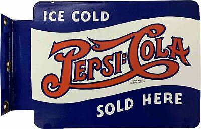 $ CDN52.31 • Buy Porcelain Ice Cold Pepsi Cola Enamel Sign Size 30  X 27.5  Inches 2 Sided Flange