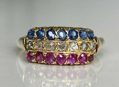 AU568 • Buy An Early 18CT Solid Gold W/ Ruby Diamond Sapphire Ring 3.15g Size S -  9 1/8