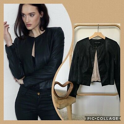 AU50 • Buy White Suede Cropped Black Leather Jacket Size 8 Rrp $489 Women's Leather