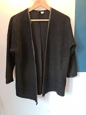 H&M Black Cardigan With Faux Leather Trim Size Small • 0.99£