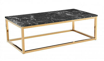 Coffee Table Marble Effect Table Top With Chrome Gold Finished Legs • 189.99£