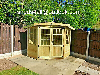 Corner Summer House With Base Optional Garden Shed Man Cave Summerhouse Treated • 1,150£