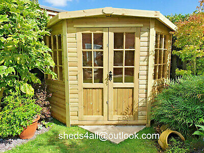 Corner Summer House With Base Optional Garden Shed Man Cave Summerhouse Treated • 1,300£