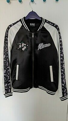 Black, White And Floral Satin Ladies Bomber Jacket • 2.50£