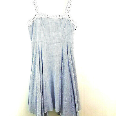 $ CDN31.23 • Buy Ivanka Trump Womens Fit & Flare Cotton Dress Size 12 Blue White Lined