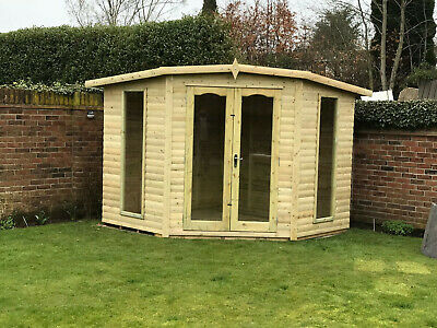 Modern Corner Summer House With Base Optional Garden Shed Summerhouse Treated • 1,950£