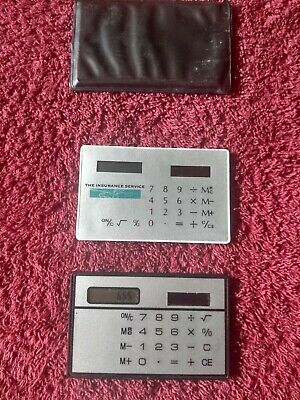 2 Vintage Credit Card Solar Calculator Ultra Thin 1980s - The Insurance Service • 0.99£