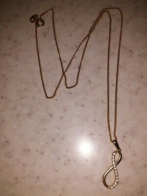 AU180 • Buy 9ct Yellow Gold Diamond Infinity Pendant & 9ct Gold Chain/ Necklace ❤