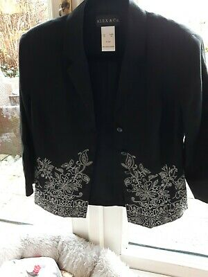 Alex & Co Size 10 Womans Short  Black  With White Embroidery • 4.50£