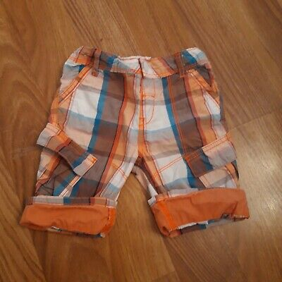 Boys Blue And Orange Checked Shorts 3-4 Years • 1.95£