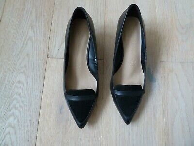 M&S Black Leather & Suede Kitten Heel Slip On Shoe Size 4 Wider Fit NWT • 6£