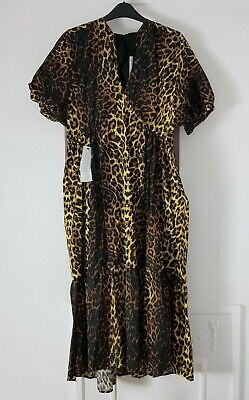 £25 • Buy Topshop Yellow, Brown & Black Leopard Cotton Tiered Midaxi Dress, UK Size 14 New
