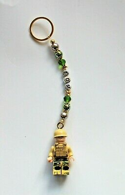 Personalised Soldier Keyring/ Bag Charm In Gold  (you Choose A Name) Handmade • 2.99£