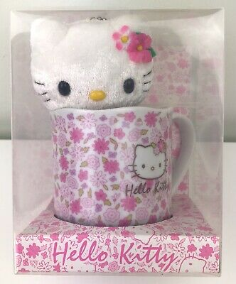 RARE Sanrio Hello Kitty BOXED China Mug With Keychain Plush Doll~BNIP~NEW~2003 • 4.20£