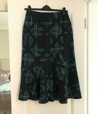 Alex & Co Navy Blue Lined Wool Flare Skirt With Turquoise Thread Pattern - UK 12 • 15£