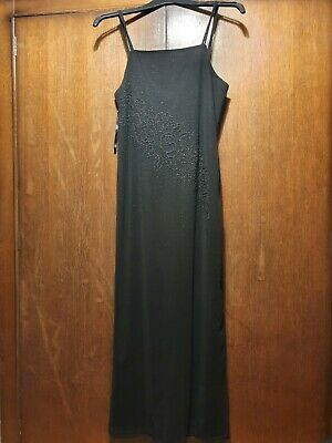 Long, Straight Black Strappy Dress With Rose Embroidered Pattern Size L • 3.99£