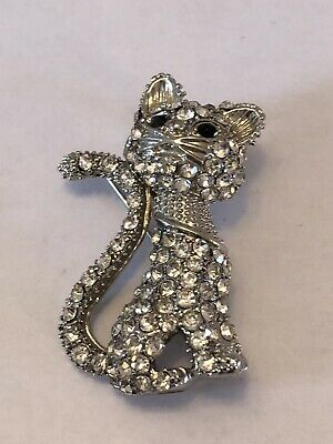 Exquisite Vintage  Silver Tone Rhinestones Costume Jewellery Cat Brooch Gift • 2.99£