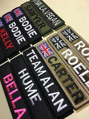 £6.99 • Buy 1 X Custom Name Tape Patch Badge Embroidered 5 X 1  Hook & Loop AirSoft Morale !