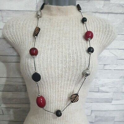 Long Black Statement String Necklace Red/Brown Beads Wood Costume Jewellery  • 8.90£