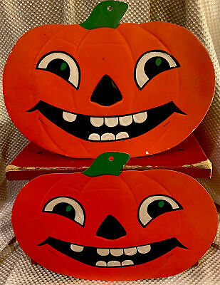 $ CDN22.89 • Buy 2-Beistle Die Cut Halloween SMILEY Pumpkins Vtg Made USA 12x9