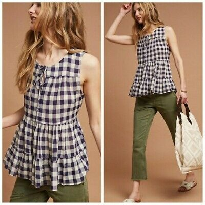 $ CDN12.70 • Buy ANTHROPOLOGIE 11 1 Tylho Size M Navy Gingham Tiered Tank Top Linen Cotton