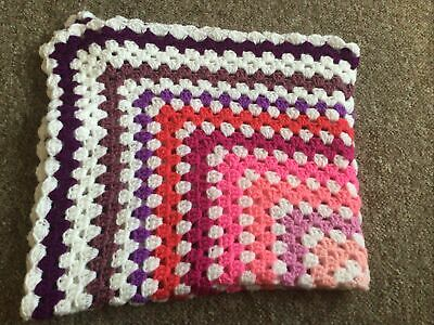 New  Handmade Crochet Granny Square Baby Blanket Pinks, Lilacs, Purple And White • 10.95£