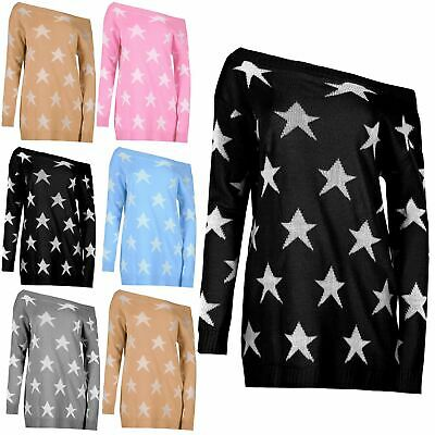 Womens Ladies Seeing Star Off The Shoulder Oversized Knit Sweater Jumper Dress  • 8.99£
