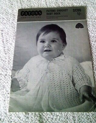 VINTAGE PATONS CROCHET PATTERN BABY BOOKLET No.SC96 5 Designs For 6-12 Months • 1£