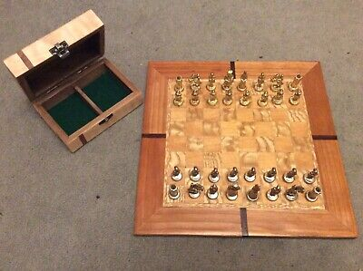 Vintage Metal Chess Set Complete Set With Refurbished Box And Handcrafted Board • 79.99£
