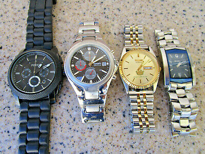 $ CDN51.78 • Buy Vintage Mens Watch Lot Collection All Run Bulova Fossil Chronograph Machine