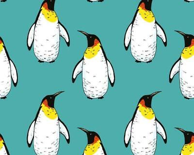 Turquoise Penguin Cotton Stretch Jersey Knit Dress Fabric. By The Half Metre. • 5.50£