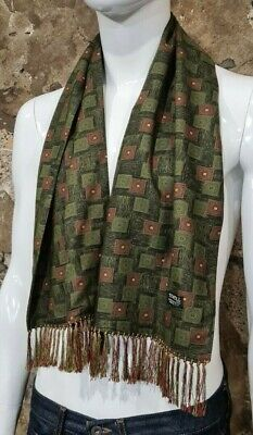 Vintage Mens Tootal Scarf Paisley Mod Scooter Ascot Goodwood Green 60s 70s  126 • 34.99£