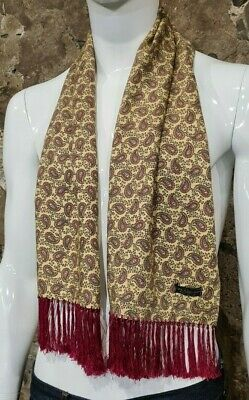 Vintage Mens Tootal Scarf Paisley Mod Scooter Ascot Goodwood Yellow 60s 70s  260 • 34.99£