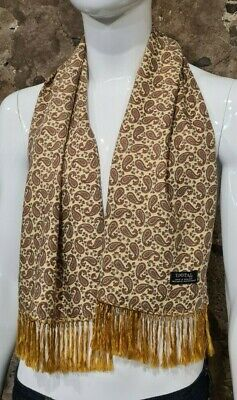 Vintage Mens Tootal Scarf Paisley Mod Scooter Ascot Goodwood Yellow 60s 70s  128 • 34.99£
