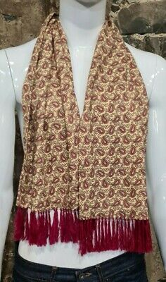 Vintage Mens Tootal Scarf Paisley Mod Scooter Ascot Goodwood Yellow 60s 70s  140 • 34.99£