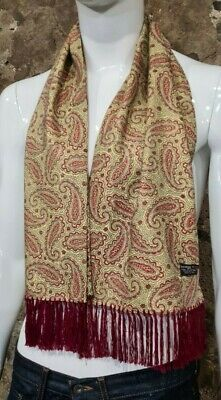 Vintage Mens Tootal Scarf Paisley Mod Scooter Ascot Goodwood Yellow 60s 70s  239 • 34.99£