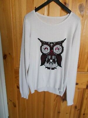 George Sz 10 Lightweight Jumper Ivory With Sequinned Owl Motif Long Sleeves  • 2.50£