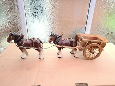 Large Vintage Ceramic Shire Horses And Handmade Wooden Cart Ornament • 100£