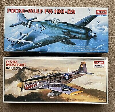 Two 1:72 Scale Academy Model Kits, Focke-Wulf Fw 190-D9 And N.A. P-51D Mustang • 9.50£