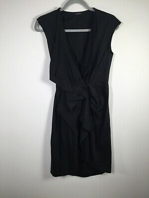 AU49.95 • Buy Carla Zampatti Womens Black Wrap Dress Size 6 Sleeveless Cotton Good Condition