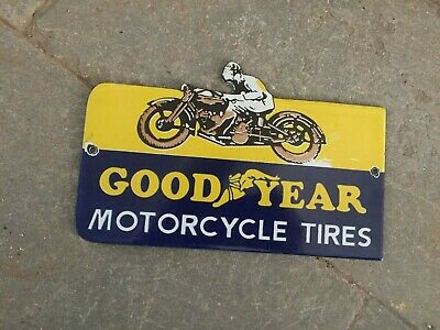 $ CDN6.95 • Buy Porcelain Goodyear Motorcycle Enamel Sign Size 8  X 5  Inches
