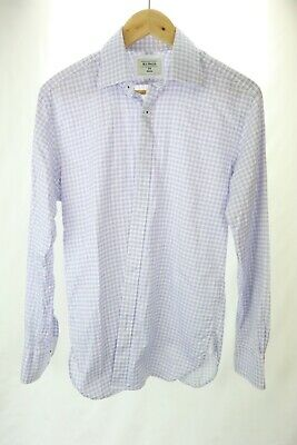 AU35 • Buy MJ Bale Men's White Blue Check Button Up Collared Long Sleeve Shirt Size 38 Work