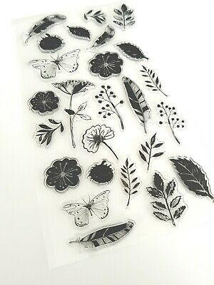 25 Flowers/butterflies Clear Stamps/silicone Stamp Set-feather/leaf/butterfly • 6£