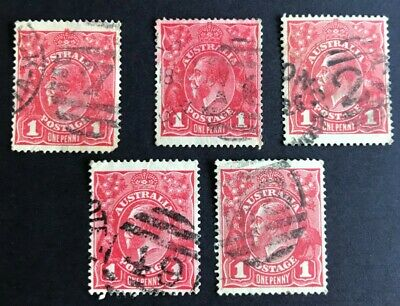 AU10 • Buy Australia 1d Red KGV Collection Of 5 Duplex Numeral Cancels FU.