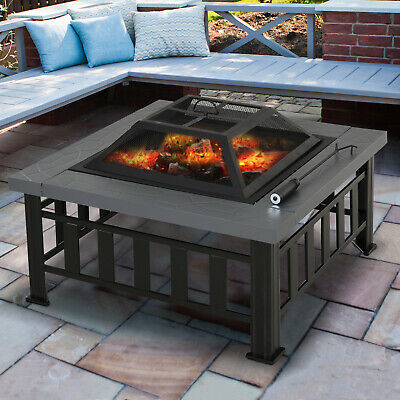 Outsunny Fire Pit Heater Square Table Patio Backyard Metal Black φ81cm Outdoor • 89.99£